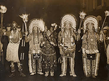 Commercial Square Bonfire Society's Indians in 1936. Photograph reproduced by permission of Peter Schueler. No unauthorised copying or reproduction.