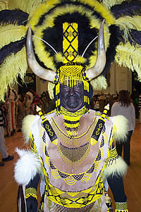 One of Lewes Borough Bonfire Society's Zulu warriors